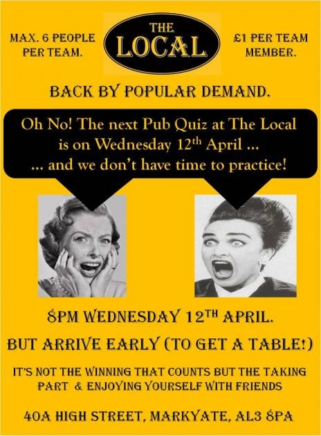 12th April Pub Quiz at The Local, Markyate